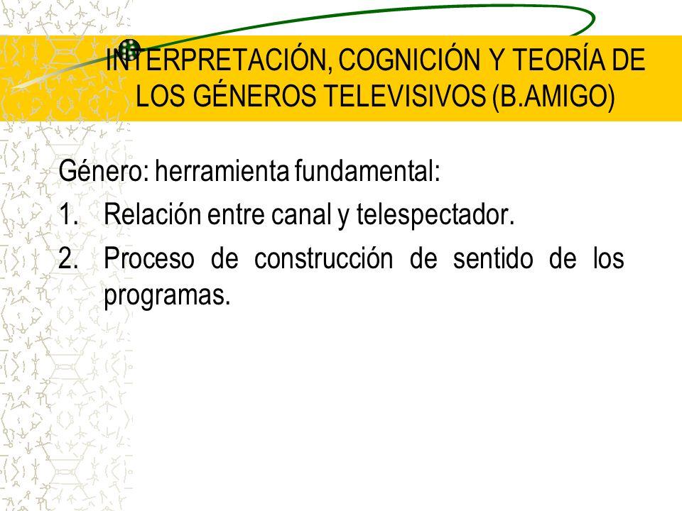 INTERPRETACIÓN, COGNICIÓN Y TEORÍA DE LOS GÉNEROS TELEVISIVOS (B