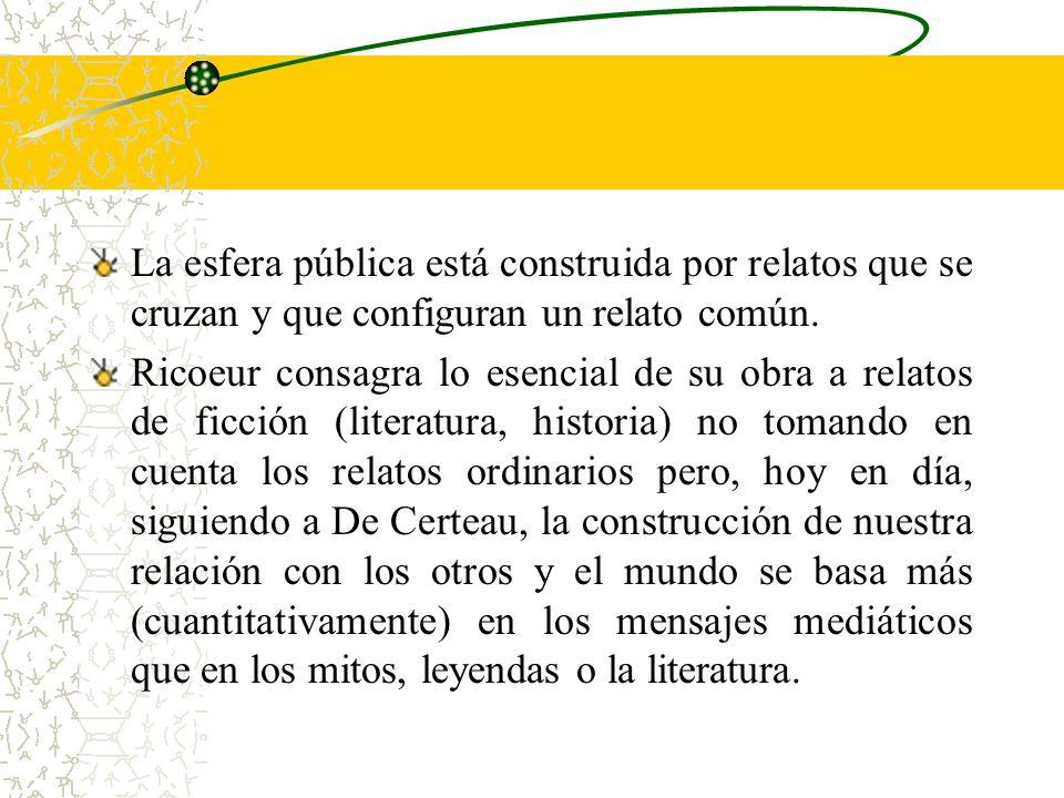 La esfera pública está construida por relatos que se cruzan y que configuran un relato común.