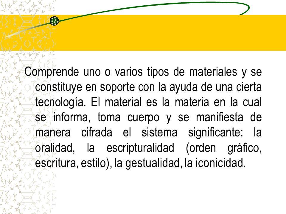 Comprende uno o varios tipos de materiales y se constituye en soporte con la ayuda de una cierta tecnología.