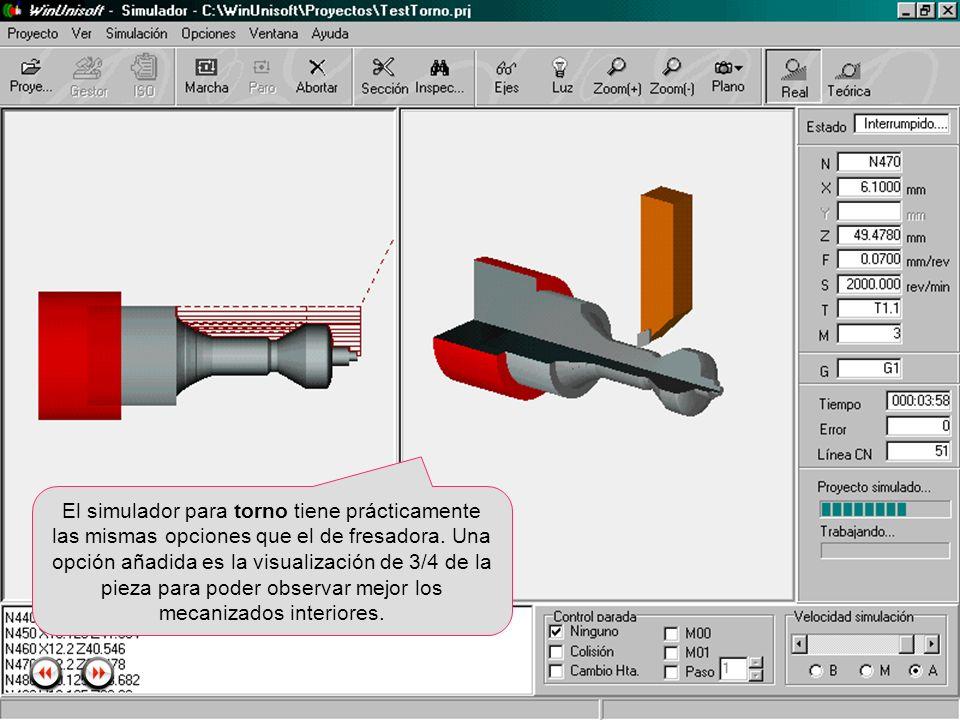 El simulador para torno tiene prácticamente las mismas opciones que el de fresadora.