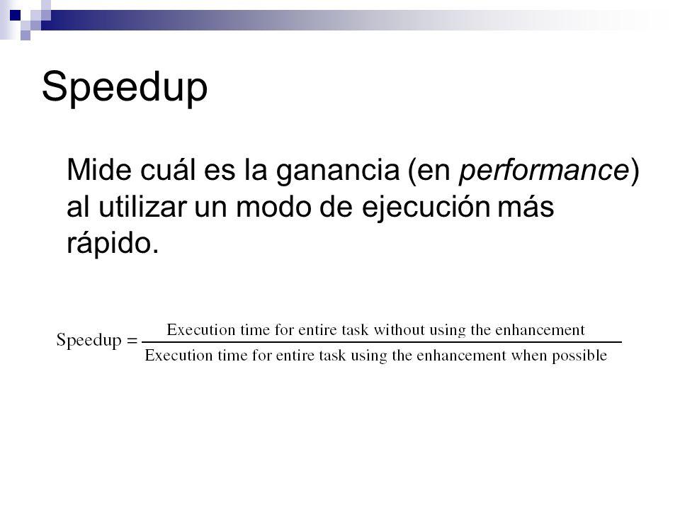 Speedup Mide cuál es la ganancia (en performance) al utilizar un modo de ejecución más rápido.