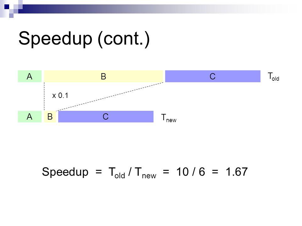 Speedup = Told / Tnew = 10 / 6 = 1.67