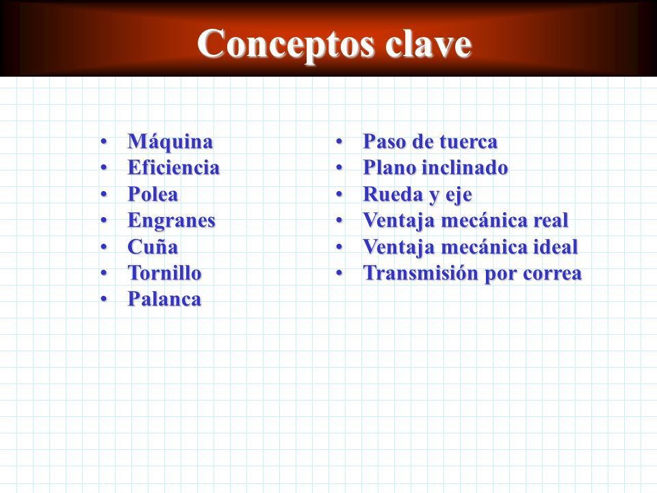 Conceptos clave Máquina Eficiencia Polea Engranes Cuña Tornillo