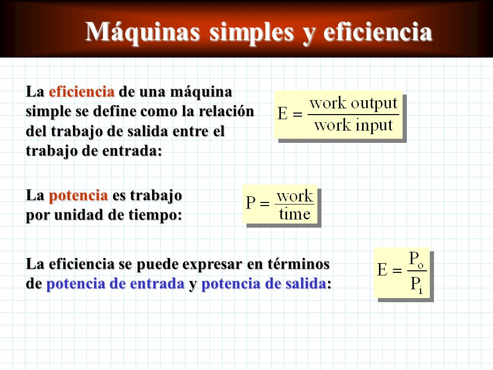 Máquinas simples y eficiencia