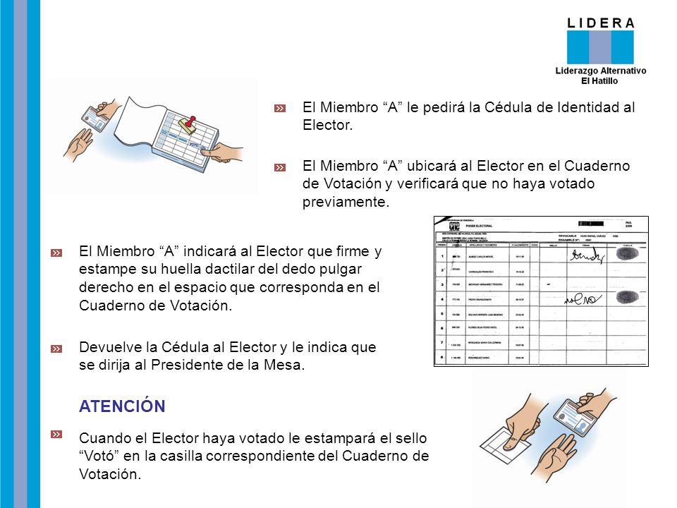 ATENCIÓN El Miembro A le pedirá la Cédula de Identidad al Elector.