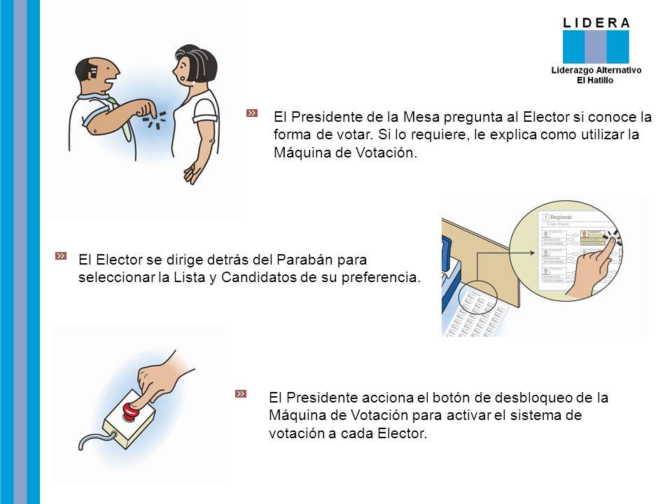 El Presidente de la Mesa pregunta al Elector si conoce la forma de votar. Si lo requiere, le explica como utilizar la Máquina de Votación.