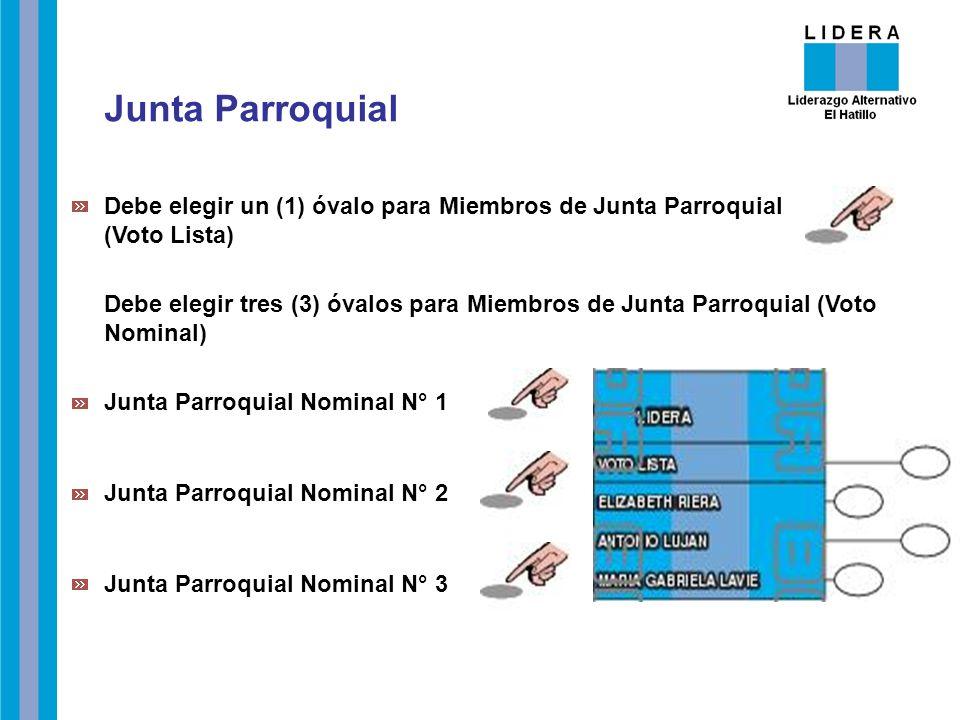 Junta Parroquial Debe elegir un (1) óvalo para Miembros de Junta Parroquial (Voto Lista)