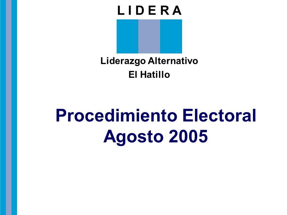 Liderazgo Alternativo Procedimiento Electoral Agosto 2005