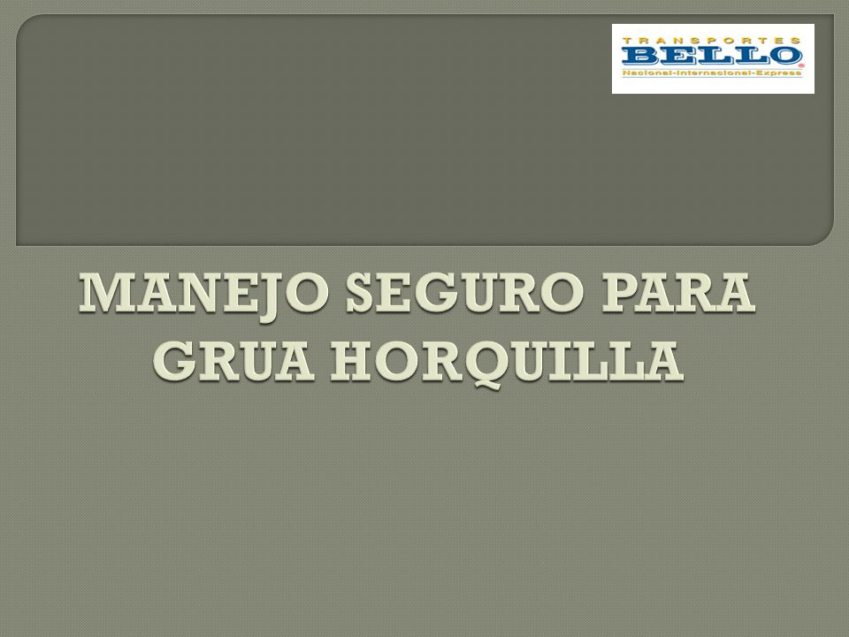 MANEJO SEGURO PARA GRUA HORQUILLA