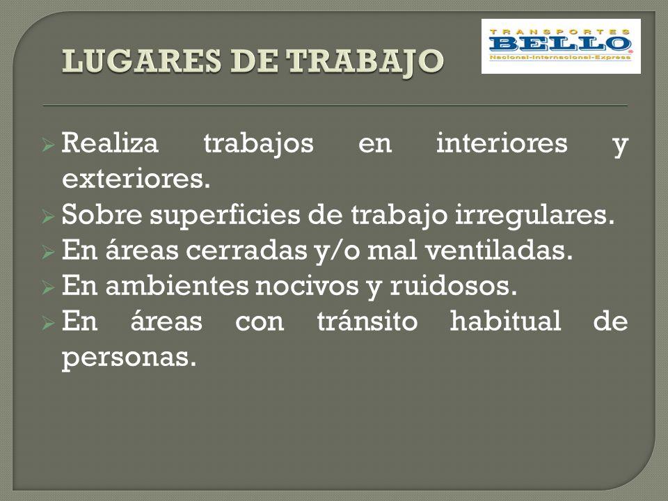LUGARES DE TRABAJO Realiza trabajos en interiores y exteriores.