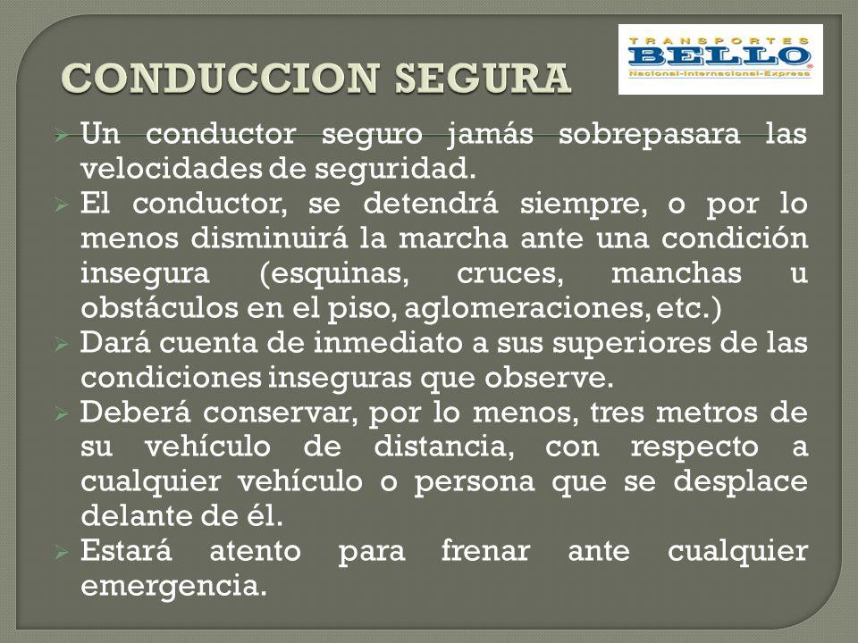 CONDUCCION SEGURA Un conductor seguro jamás sobrepasara las velocidades de seguridad.