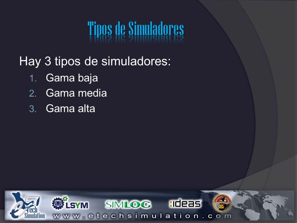 Tipos de Simuladores Hay 3 tipos de simuladores: Gama baja Gama media