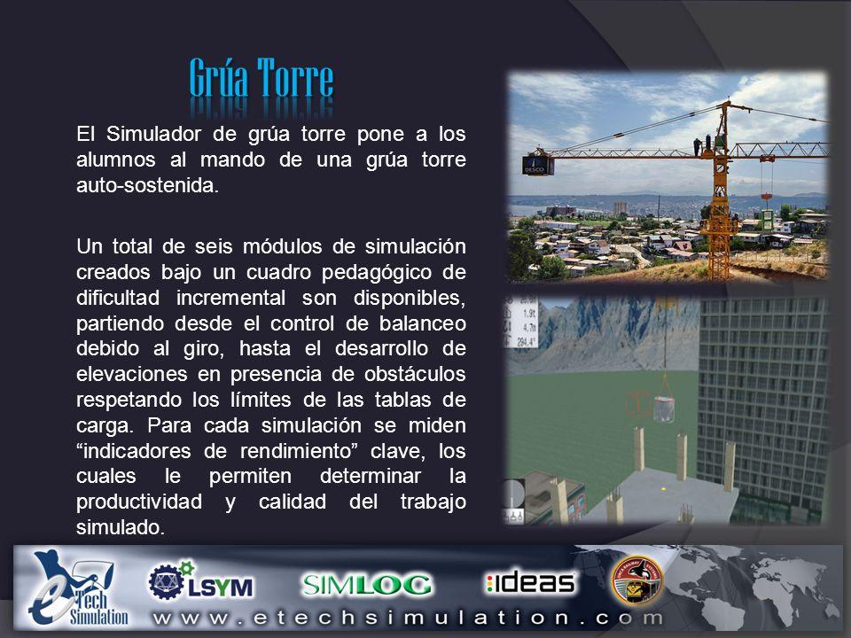 Grúa Torre El Simulador de grúa torre pone a los alumnos al mando de una grúa torre auto-sostenida.