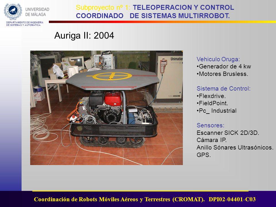 Auriga II: 2004 Vehiculo Oruga: Generador de 4 kw Motores Brusless.