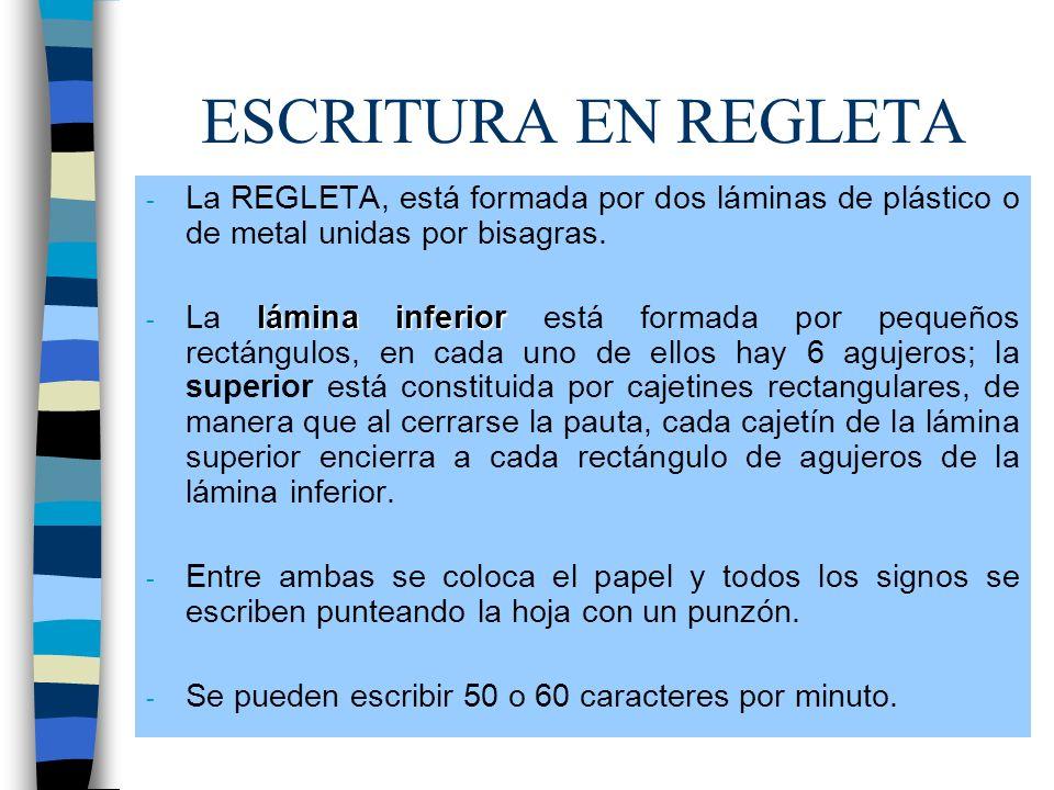 ESCRITURA EN REGLETA La REGLETA, está formada por dos láminas de plástico o de metal unidas por bisagras.