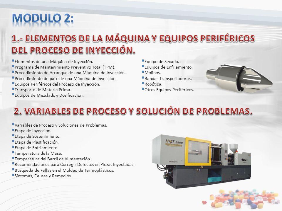 Modulo 2: 1.- ELEMENTOS DE LA MÁQUINA Y EQUIPOS PERIFÉRICOS DEL PROCESO DE INYECCIÓN. Elementos de una Máquina de Inyección.