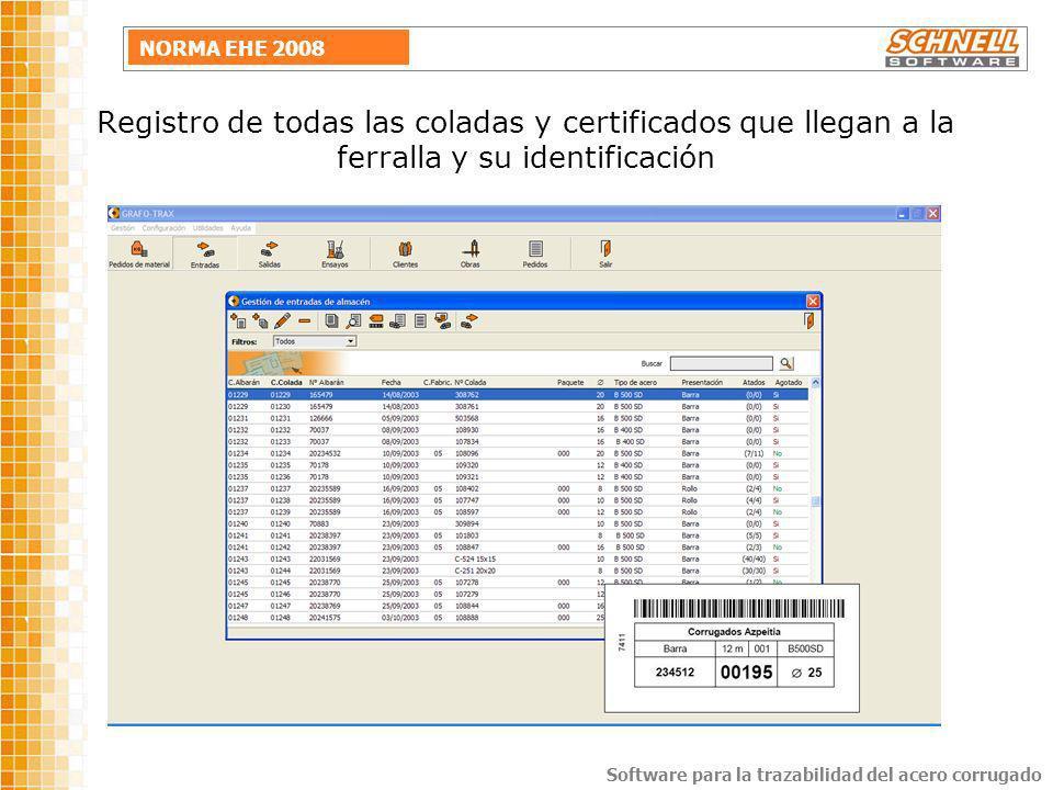 Registro de todas las coladas y certificados que llegan a la ferralla y su identificación