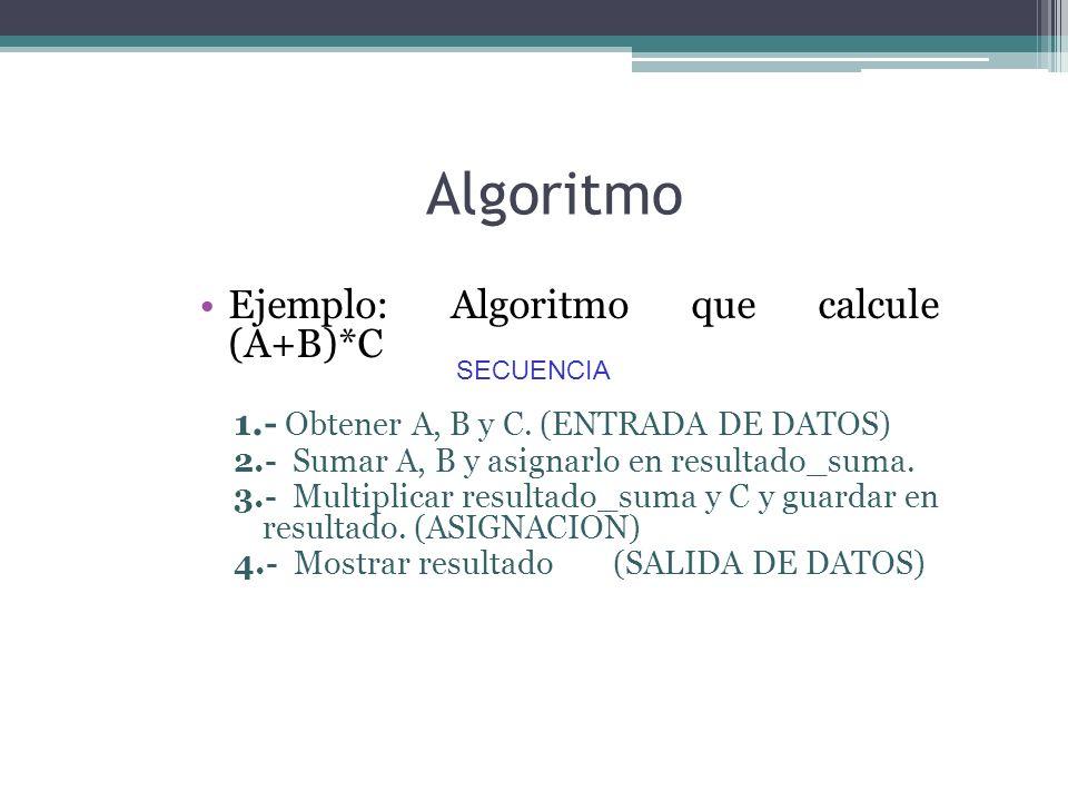 Algoritmo SECUENCIA Ejemplo: Algoritmo que calcule (A+B)*C