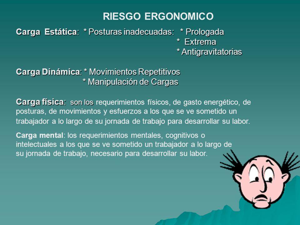 RIESGO ERGONOMICO Carga Estática: * Posturas inadecuadas: * Prologada