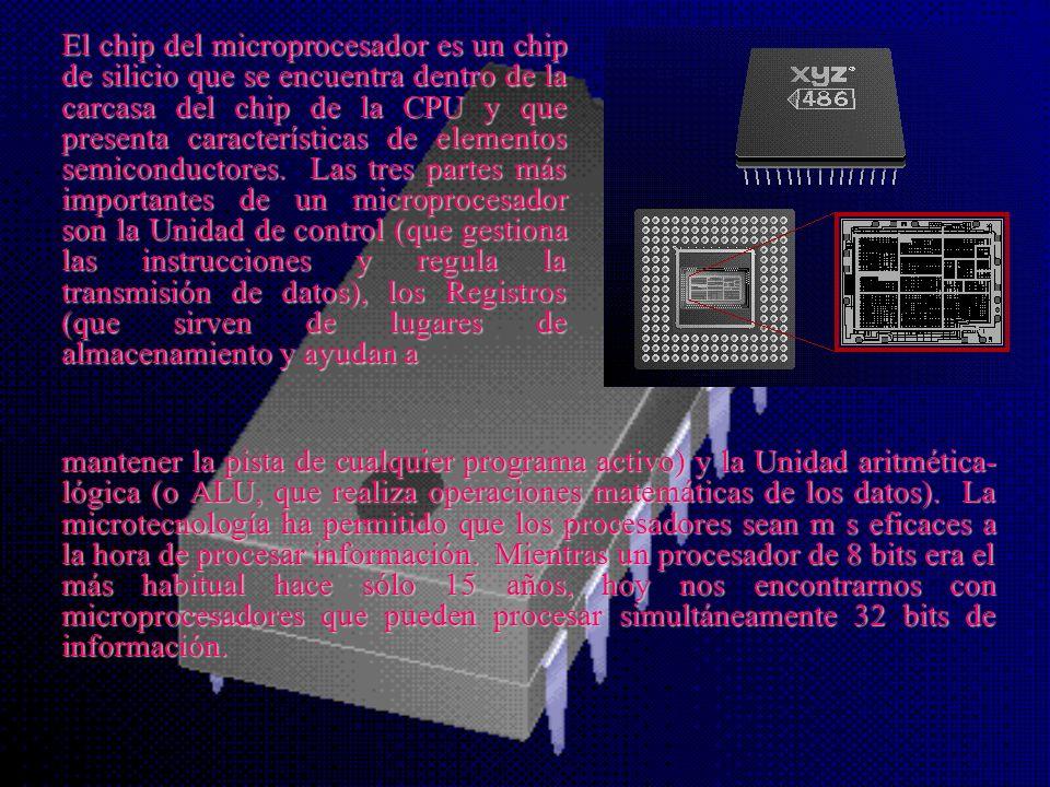El chip del microprocesador es un chip de silicio que se encuentra dentro de la carcasa del chip de la CPU y que presenta características de elementos semiconductores. Las tres partes más importantes de un microprocesador son la Unidad de control (que gestiona las instrucciones y regula la transmisión de datos), los Registros (que sirven de lugares de almacenamiento y ayudan a