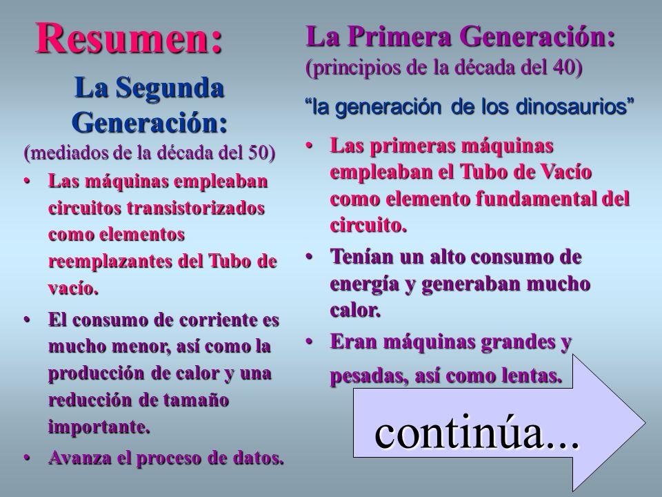 Resumen: La Primera Generación: (principios de la década del 40) La Segunda Generación: (mediados de la década del 50)