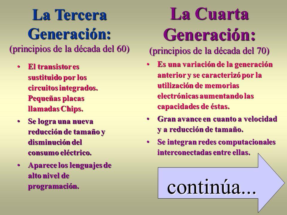 continúa... La Cuarta Generación: (principios de la década del 70)