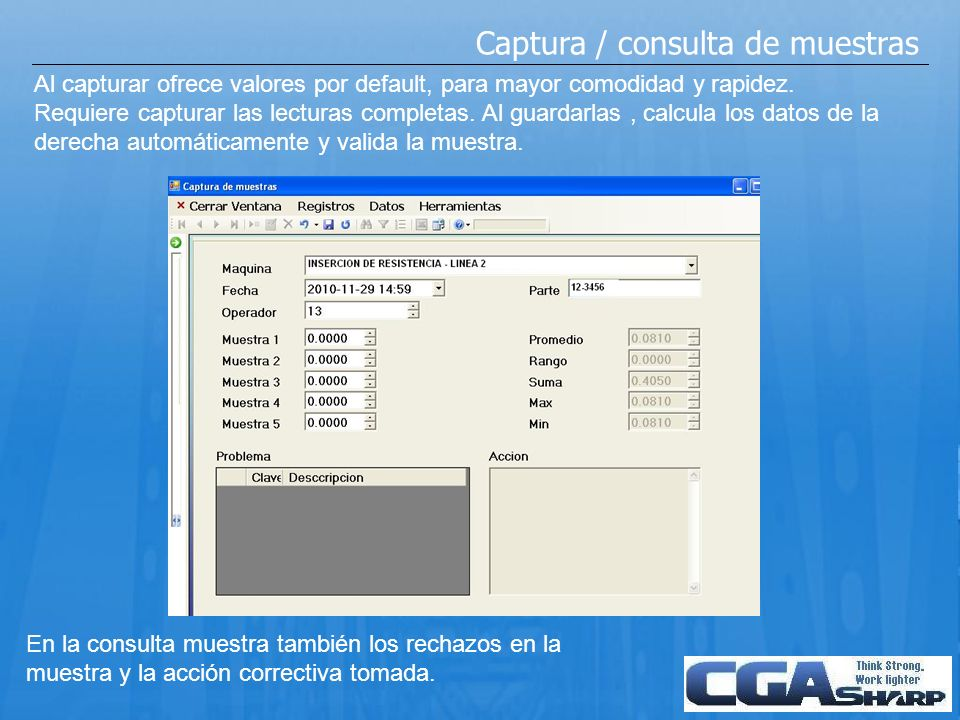 Captura / consulta de muestras