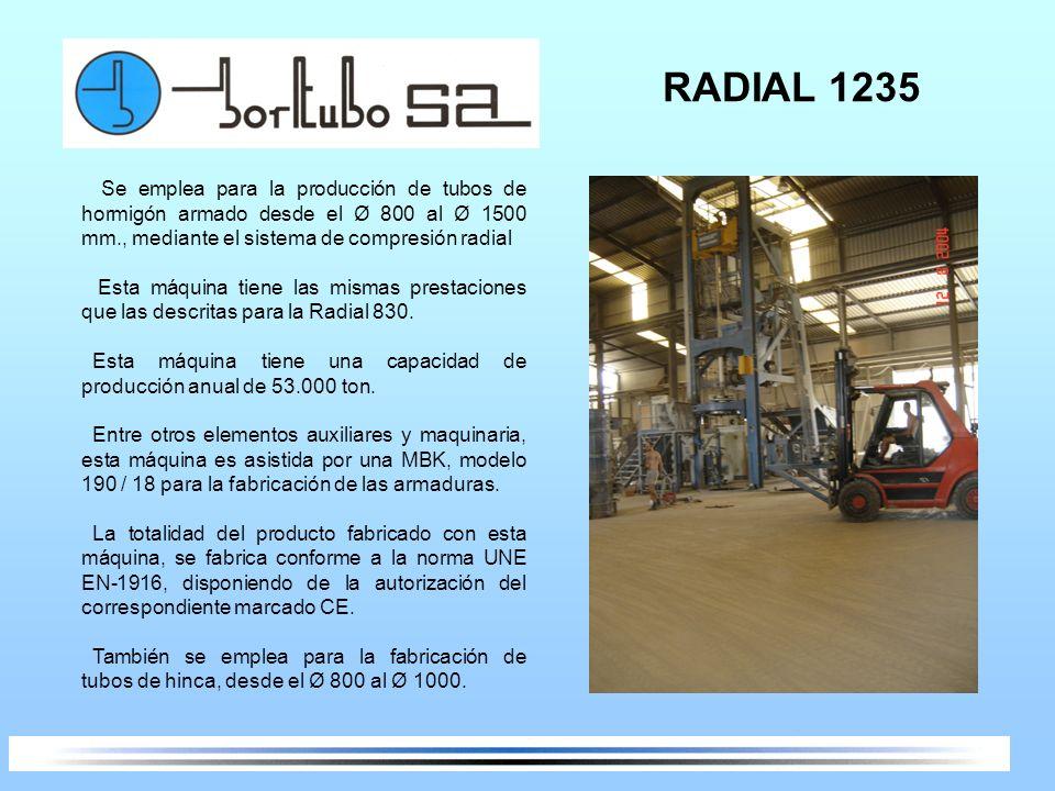 RADIAL 1235 Se emplea para la producción de tubos de hormigón armado desde el Ø 800 al Ø 1500 mm., mediante el sistema de compresión radial.