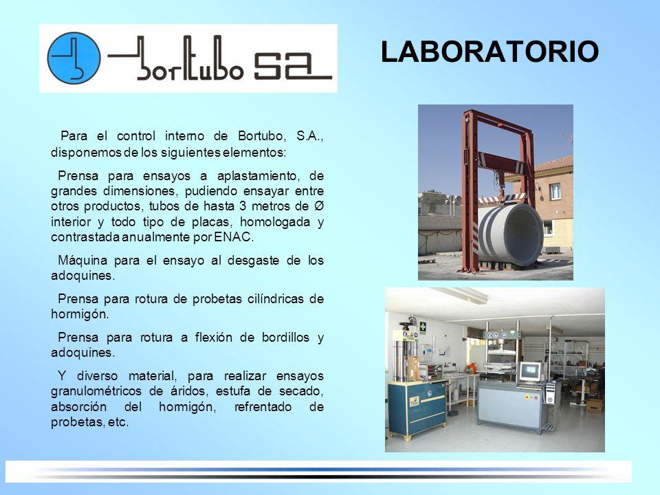 LABORATORIOPara el control interno de Bortubo, S.A., disponemos de los siguientes elementos:
