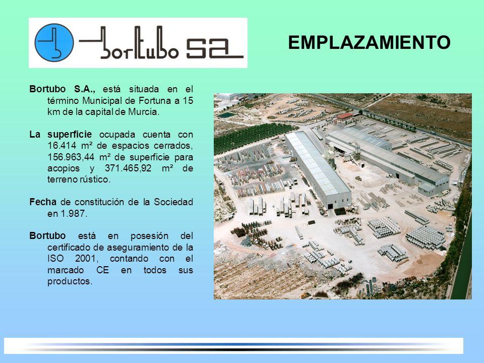EMPLAZAMIENTO Bortubo S.A., está situada en el término Municipal de Fortuna a 15 km de la capital de Murcia.