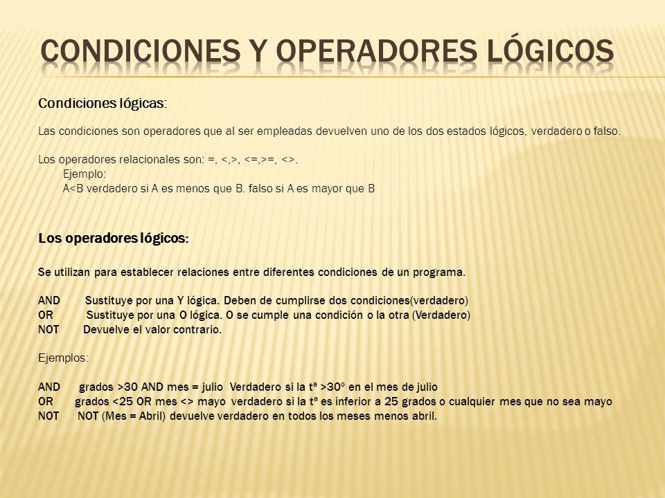 CONDICIONES Y OPERADORES LÓGICOS
