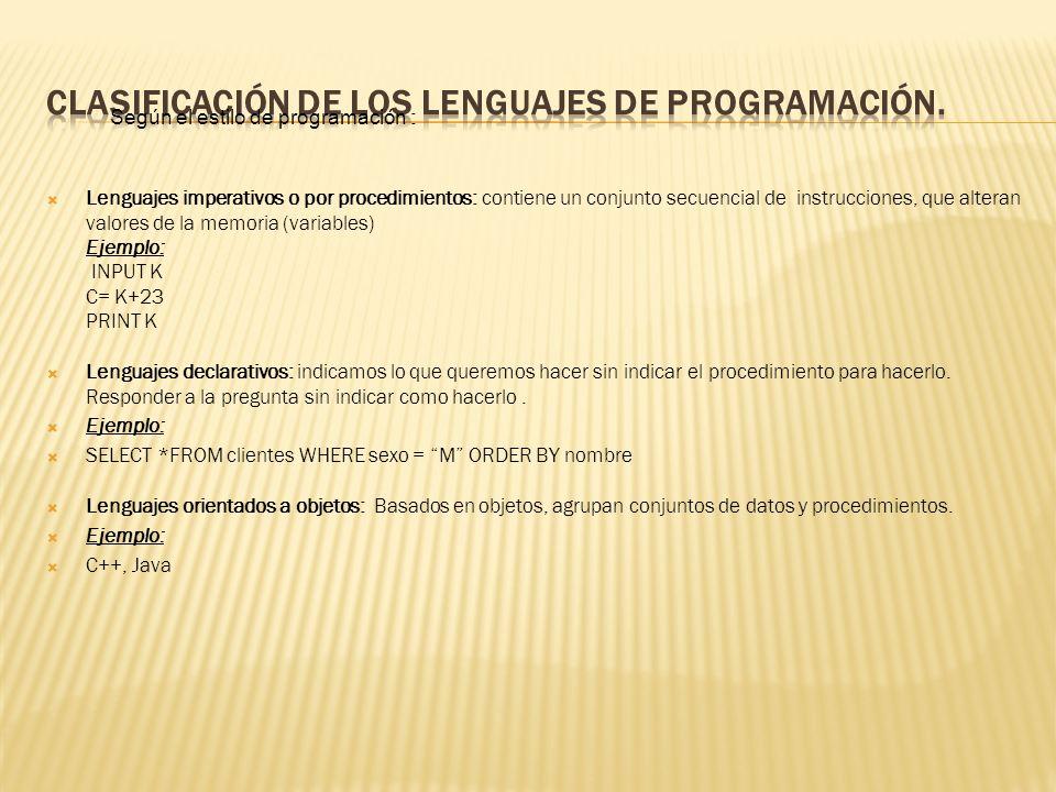 Clasificación de los lenguajes de programación.