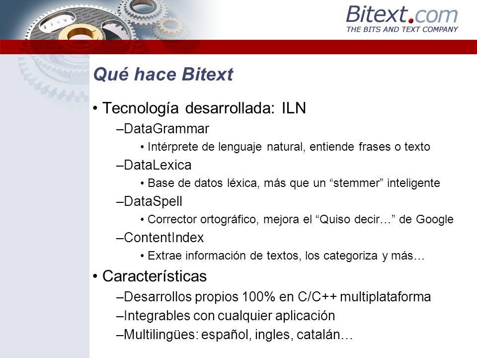 Qué hace Bitext Tecnología desarrollada: ILN Características