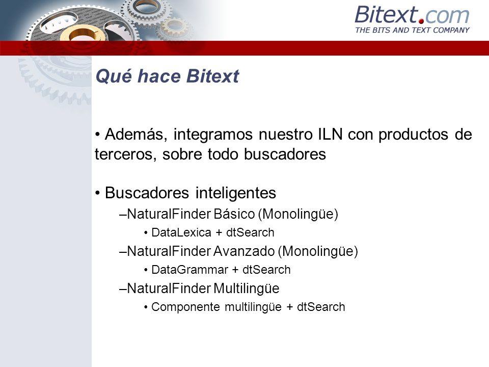 Qué hace Bitext Además, integramos nuestro ILN con productos de terceros, sobre todo buscadores. Buscadores inteligentes.