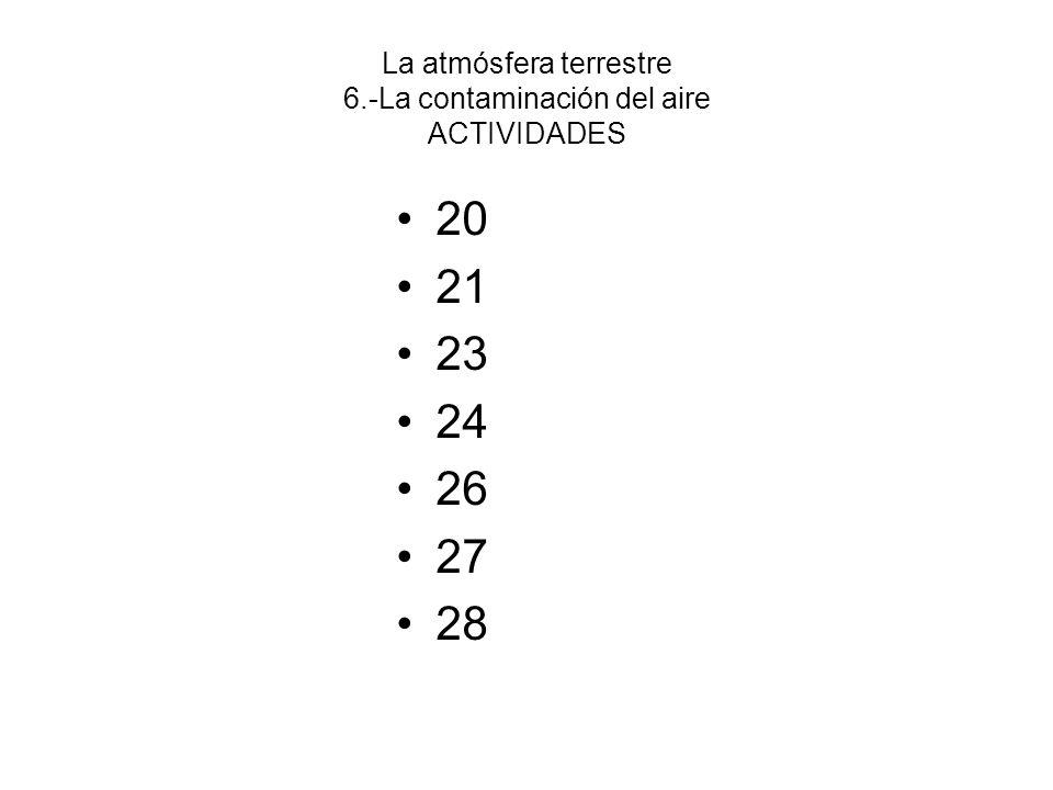 La atmósfera terrestre 6.-La contaminación del aire ACTIVIDADES