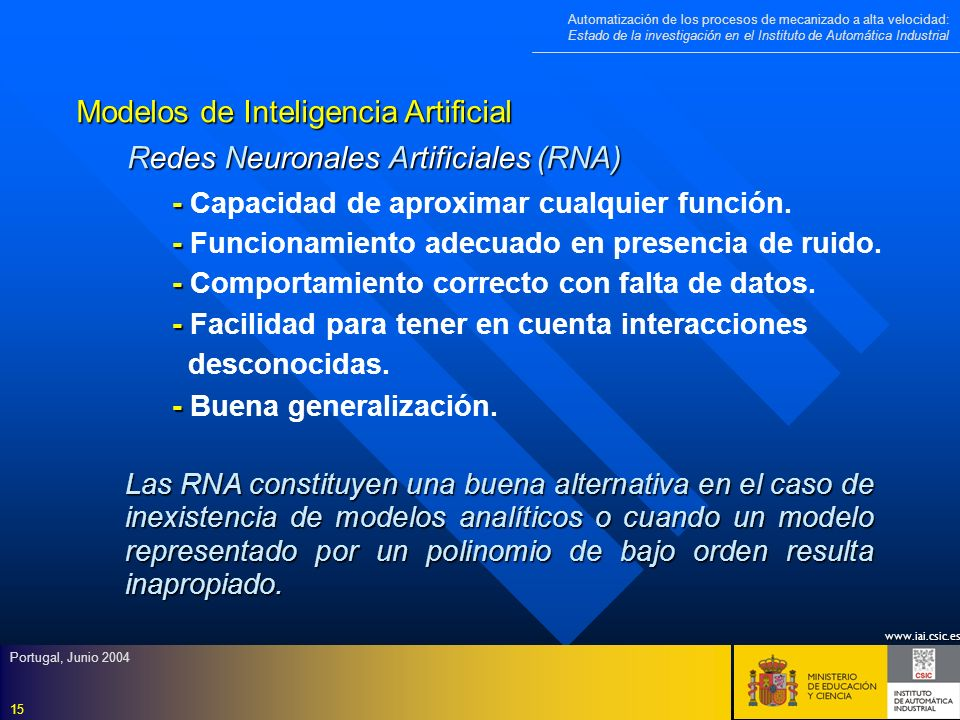 Modelos de Inteligencia Artificial Redes Neuronales Artificiales (RNA)