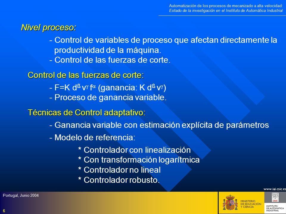 Nivel proceso: - Control de variables de proceso que afectan directamente la. productividad de la máquina.