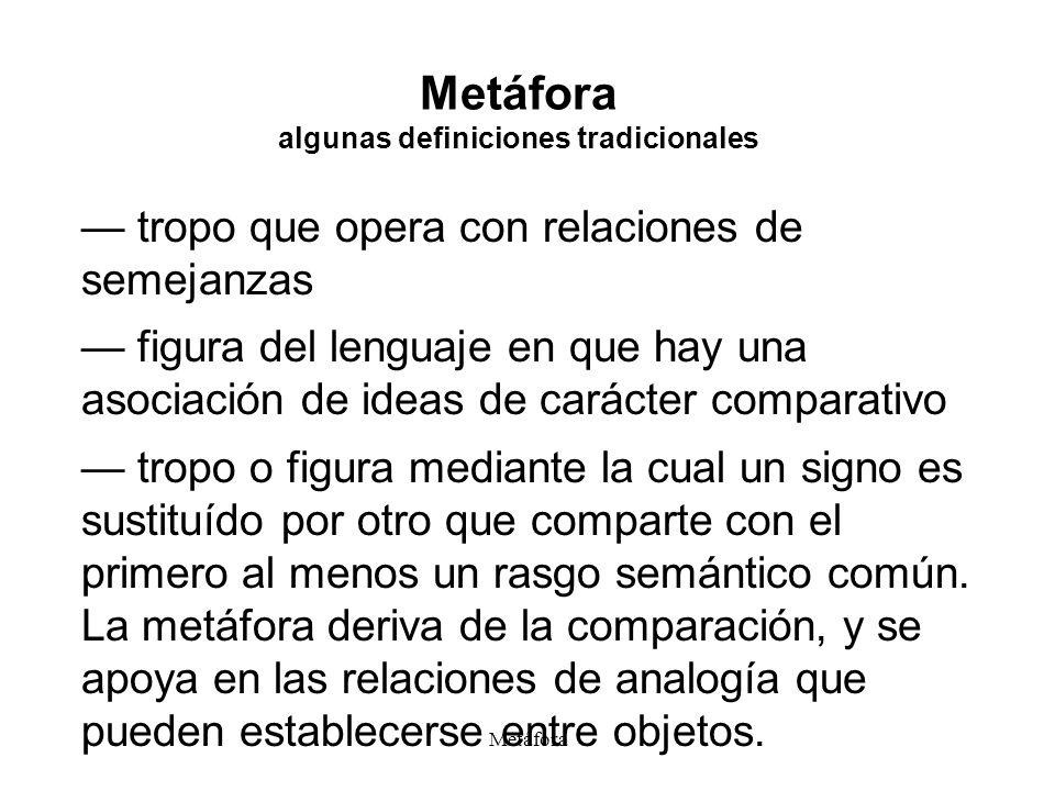 Metáfora algunas definiciones tradicionales