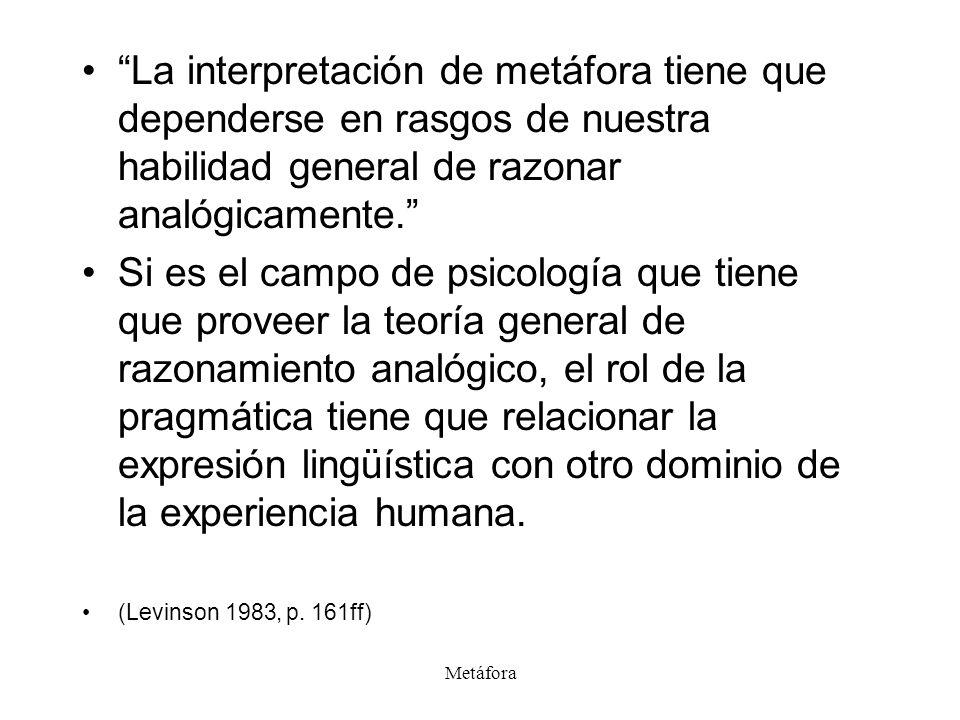 La interpretación de metáfora tiene que dependerse en rasgos de nuestra habilidad general de razonar analógicamente.