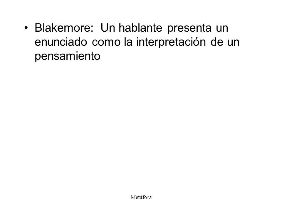 Blakemore: Un hablante presenta un enunciado como la interpretación de un pensamiento