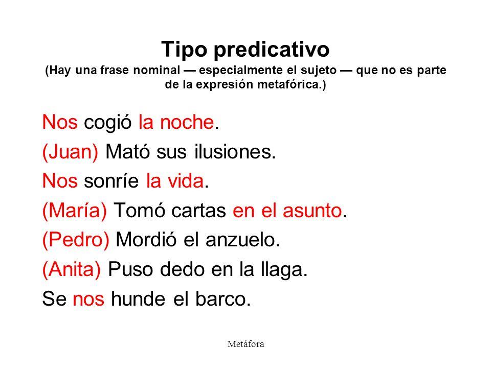 Tipo predicativo (Hay una frase nominal — especialmente el sujeto — que no es parte de la expresión metafórica.)
