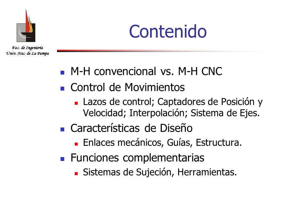 Contenido M-H convencional vs. M-H CNC Control de Movimientos