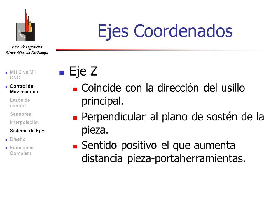 Ejes Coordenados Eje Z Coincide con la dirección del usillo principal.
