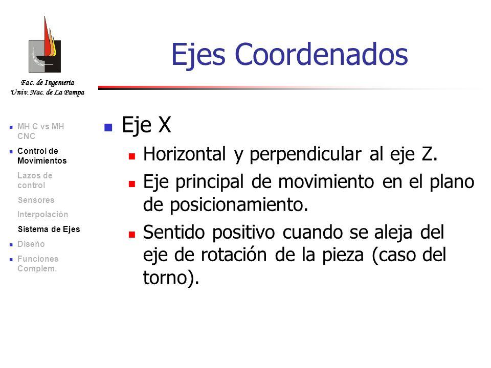 Ejes Coordenados Eje X Horizontal y perpendicular al eje Z.