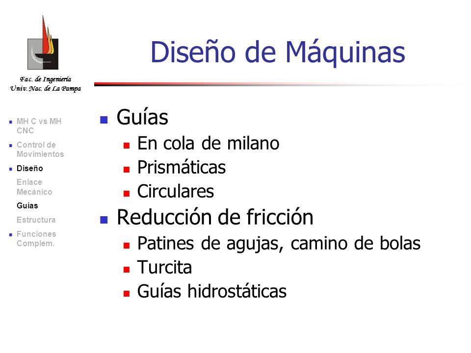 Diseño de Máquinas Guías Reducción de fricción En cola de milano