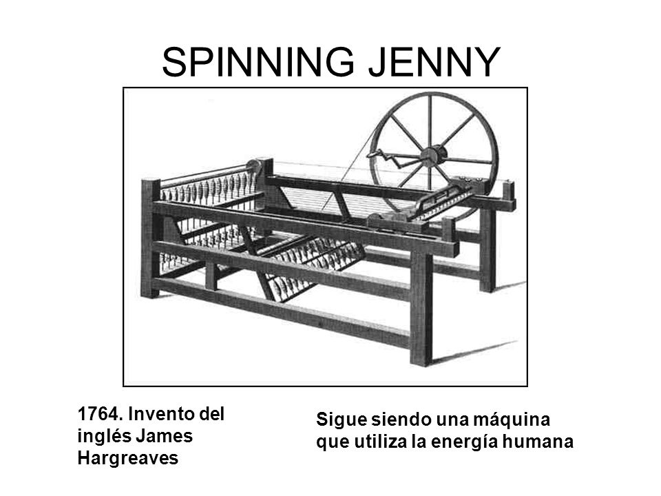 SPINNING JENNY 1764. Invento del inglés James Hargreaves
