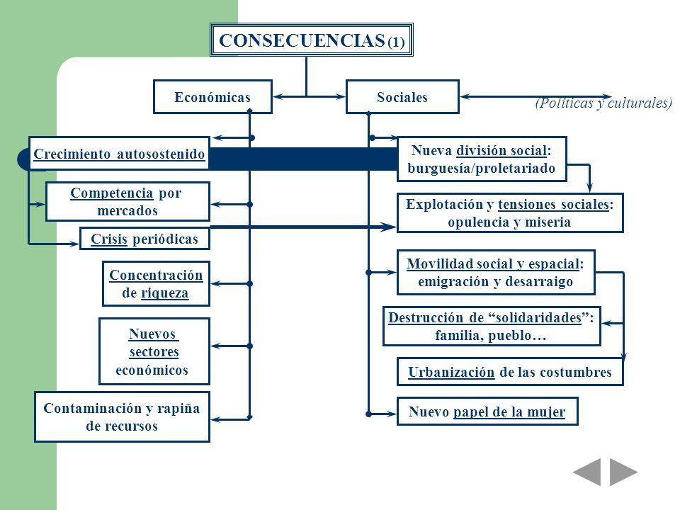 CONSECUENCIAS (1) Económicas Sociales (Políticas y culturales)