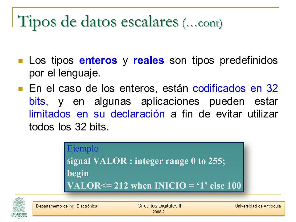 Tipos de datos escalares (…cont)