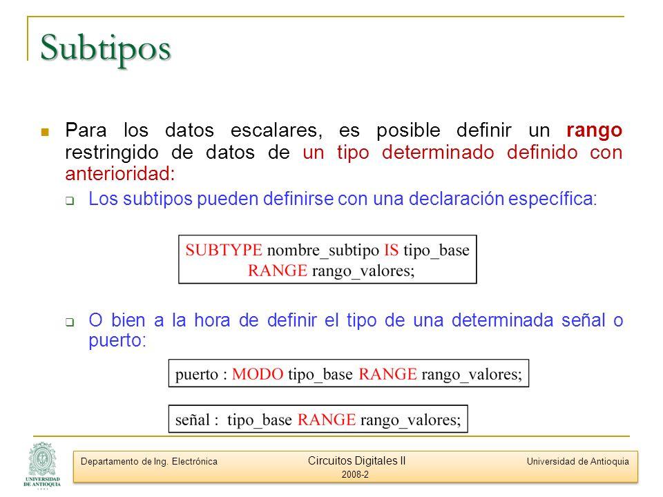 Subtipos Para los datos escalares, es posible definir un rango restringido de datos de un tipo determinado definido con anterioridad: