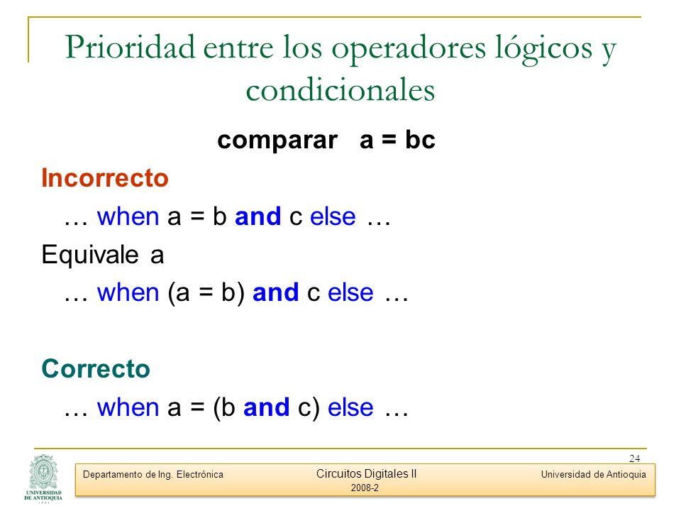 Prioridad entre los operadores lógicos y condicionales